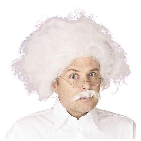 Witte professor pruik met snor