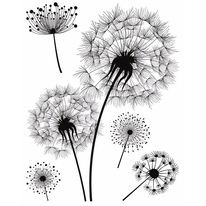 Woondeco sticker zwart-wit bloemen