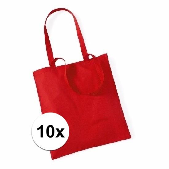 10x Promotie tasjes rood katoen 42 x 38 cm