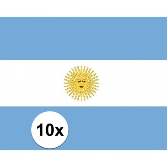 10x stuks Stickers Argentinie vlaggen