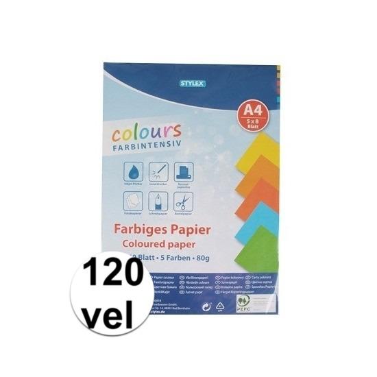 120 vellen Gekleurd A4 papier 80 gram