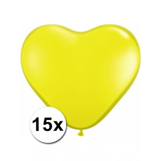 15 Gele harten ballonnen 15 cm
