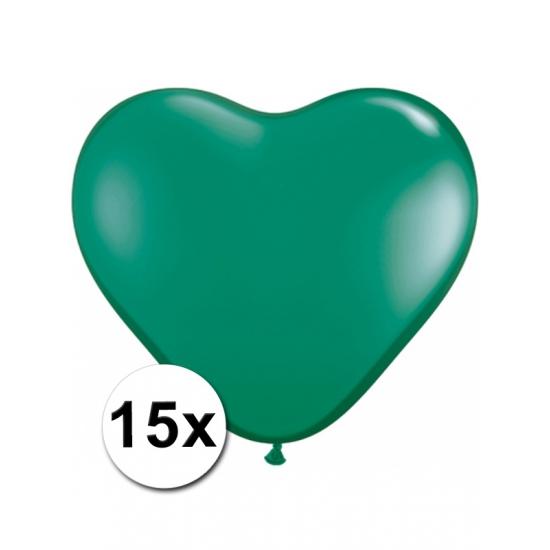 15 Groene harten ballonnen 15 cm