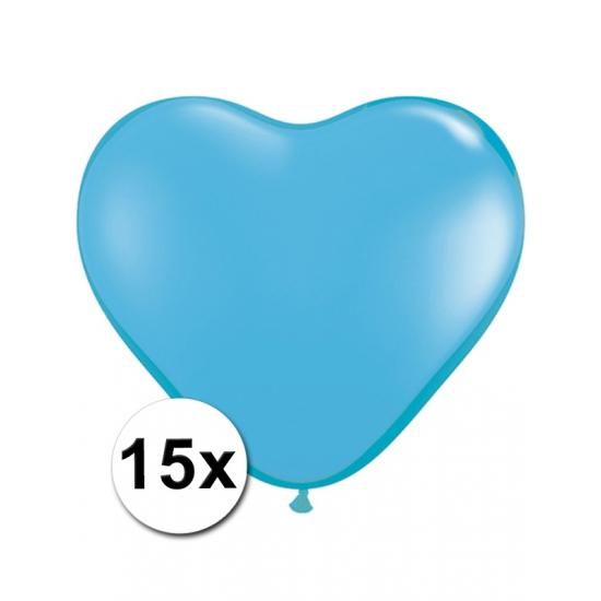 15 Lichtblauwe harten ballonnen 15 cm