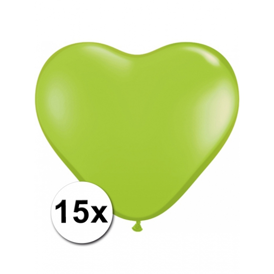 15 Limegroene harten ballonnen 15 cm