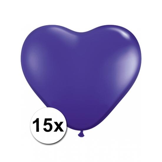 15 Paarse harten ballonnen 15 cm