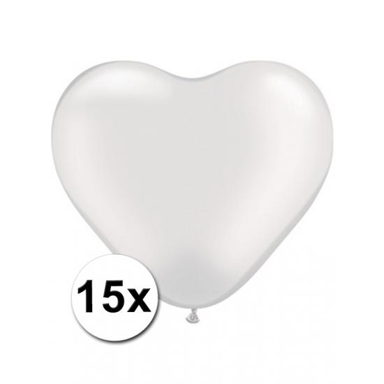 15 Witte harten ballonnen 15 cm
