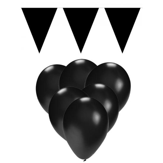 15 zwarte ballonnen met 2 zwarte vlaggenlijnen
