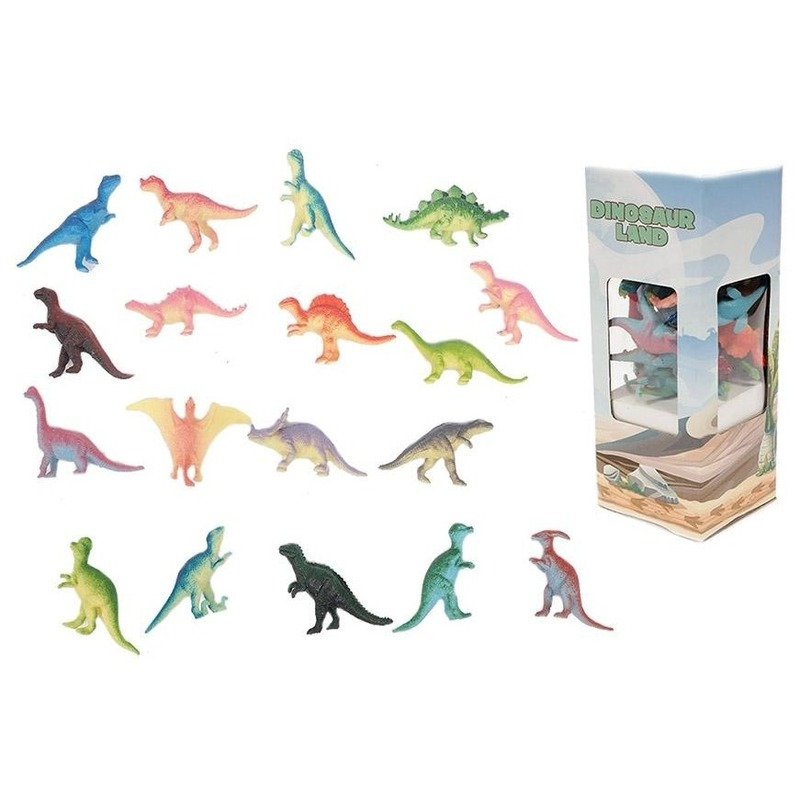 18x Plastic speelgoed dinosaurussen 6 cm