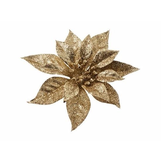1x Kerstartikelen gouden bloemen kerstboompiek 18 cm