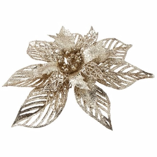 1x Kerstartikelen gouden bloemen kerstboompiek 23 cm