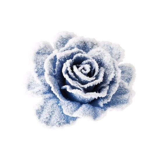 1x Kerstartikelen lichtblauw-witte bloemen kerstboompiek 10 cm