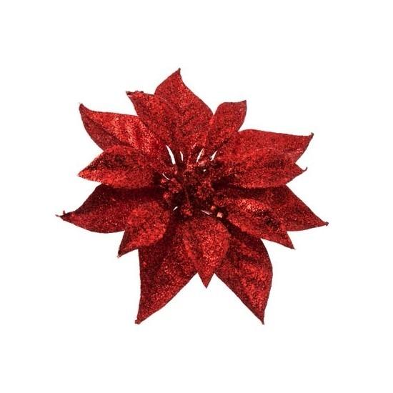 1x Kerstartikelen rode bloemen kerstboompiek 18 cm
