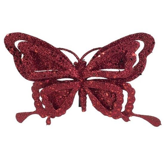1x Kerstartikelen vlinders kerstboompiek 14 cm