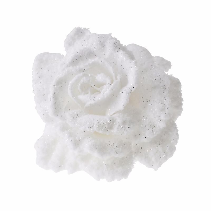 1x Kerstartikelen witte bloemen kerstboompiek 10 cm