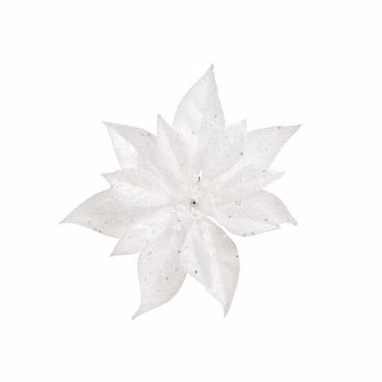 1x Kerstartikelen witte bloemen kerstboompiek 18 cm