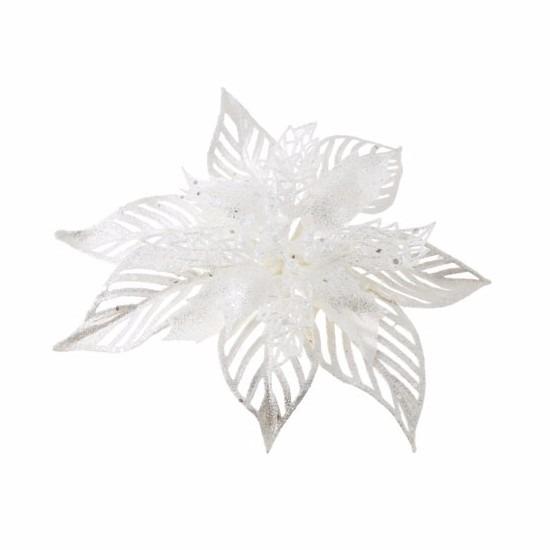 1x Kerstartikelen witte bloemen kerstboompiek 23 cm