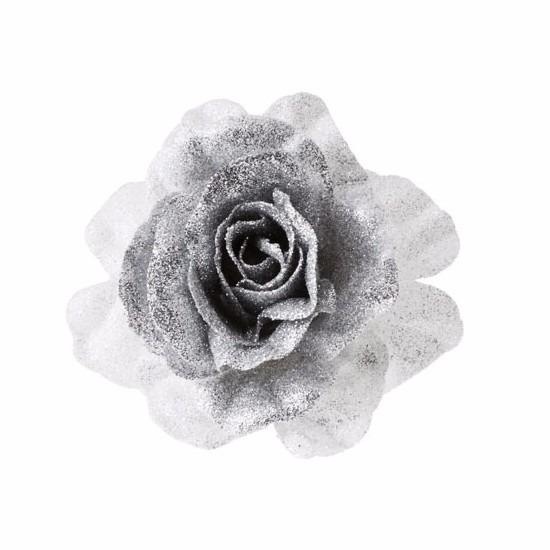 1x Kerstartikelen zilver-witte bloemen kerstboompiek 18 cm