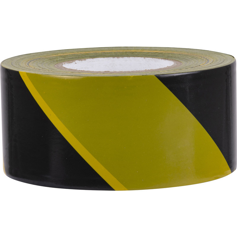 1x Plakband/tape rollen geel met zwart 66 meter