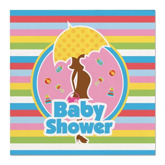 20x Babyshower feest servetten gekleurd 25 x 25 cm papier