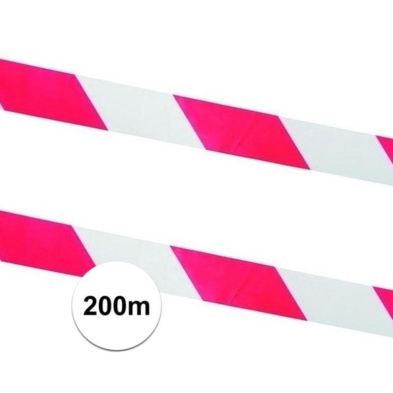 2x Afzetlinten - markeringslinten rood met wit 100 meter
