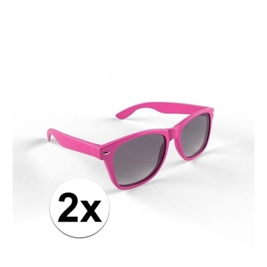 2x Hippe zonnebril roze montuur voor volwassenen