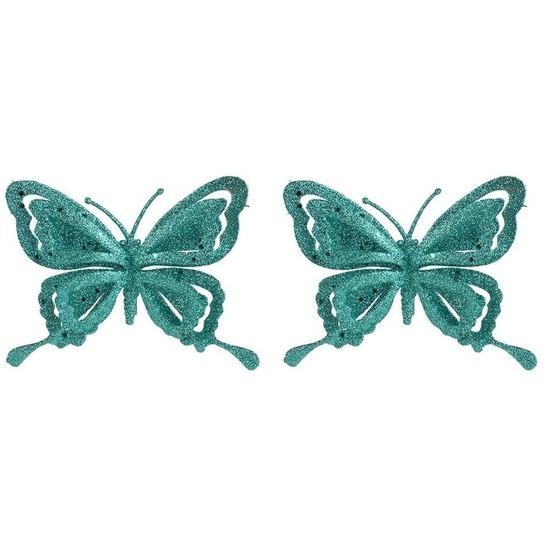 2x Kerstartikelen vlinders kerstboompiek 14 cm