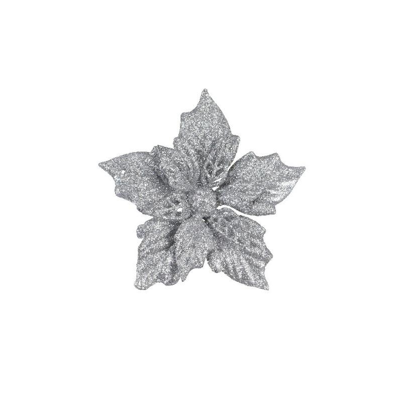 2x Kerstartikelen zilveren bloemen kerstboompiek 12 cm