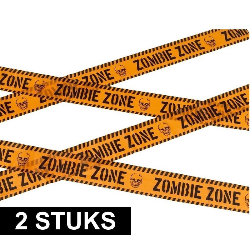 2x Oranje afzetlint met de tekst Zombie zone 6 meter