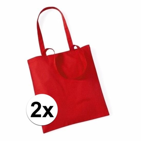 2x Promotie tasjes rood katoen 42 x 38 cm