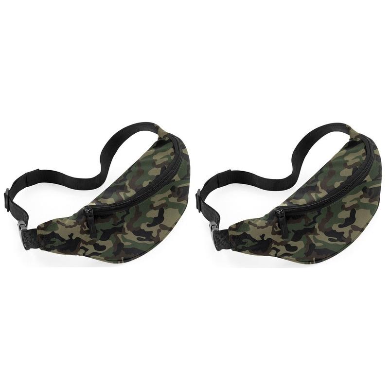 2x Reistasjes verstelbaar camouflage/leger print 38 cm