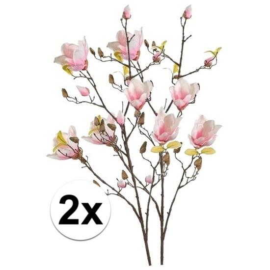 2x Roze Magnolia kunstbloemen tak 105 cm