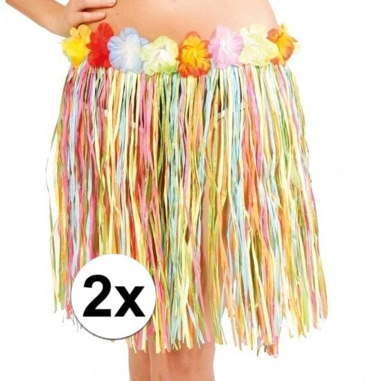 2x stuks Hawaii rokjes gekleurd 45 cm voor dames