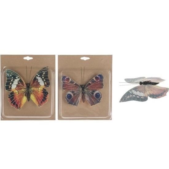 2x Tuin deco vlinders op clip 17 cm