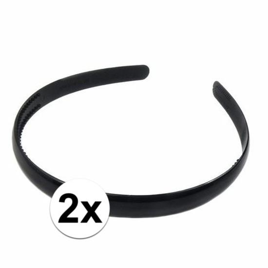 2x Zwart hoofdbandje plastic voor dames