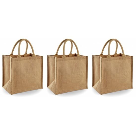 3x Jute boodschappentassen/shoppers 30 x 30 x 19 cm