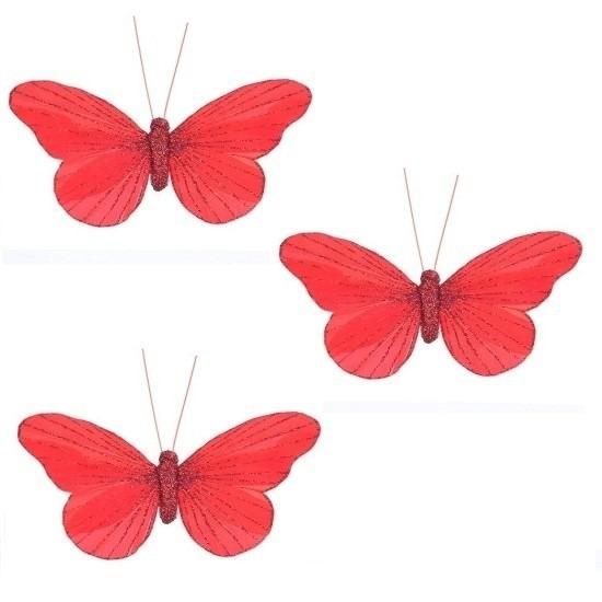 3x Kerstartikelen vlinders kerstboompiek 11 cm