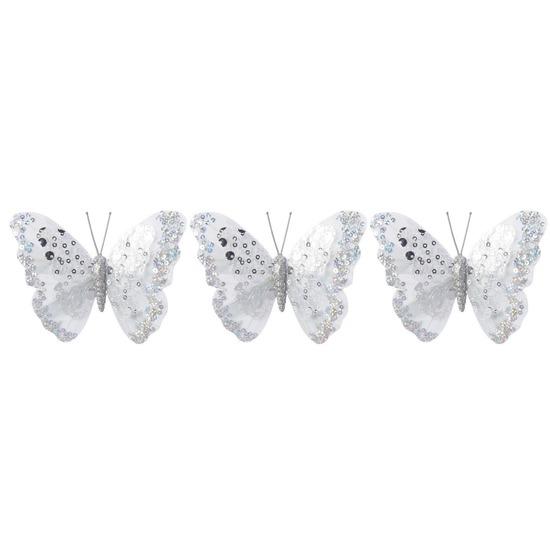 3x Kerstartikelen vlinders kerstboompiek 12 cm