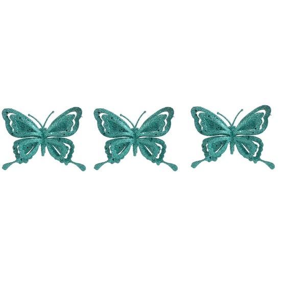 3x Kerstartikelen vlinders kerstboompiek 14 cm