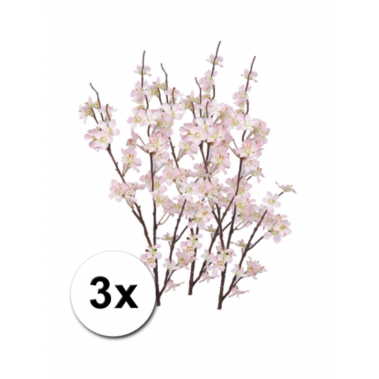 3x kunstbloem appelbloesem tak roze 84 cm