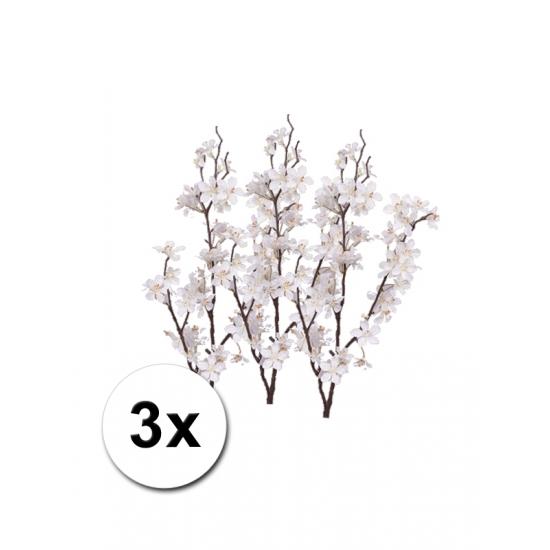 3x kunstbloem appelbloesem tak wit 84 cm