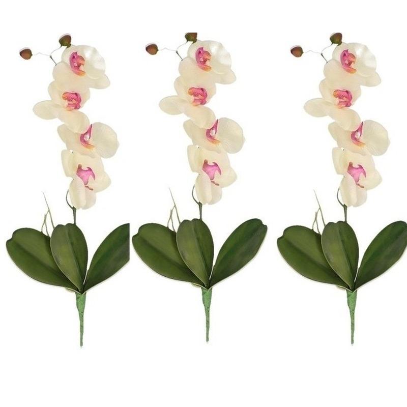 3x Orchidee decoratie tak kunstbloemen