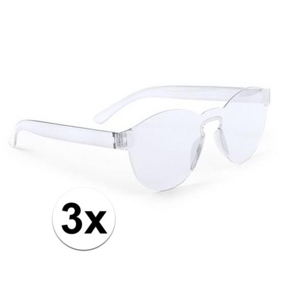 c9efa33fd85169 3x Transparante verkleed zonnebrillen voor vol € 7.50. Bij   fopartikelenwinkel.nl