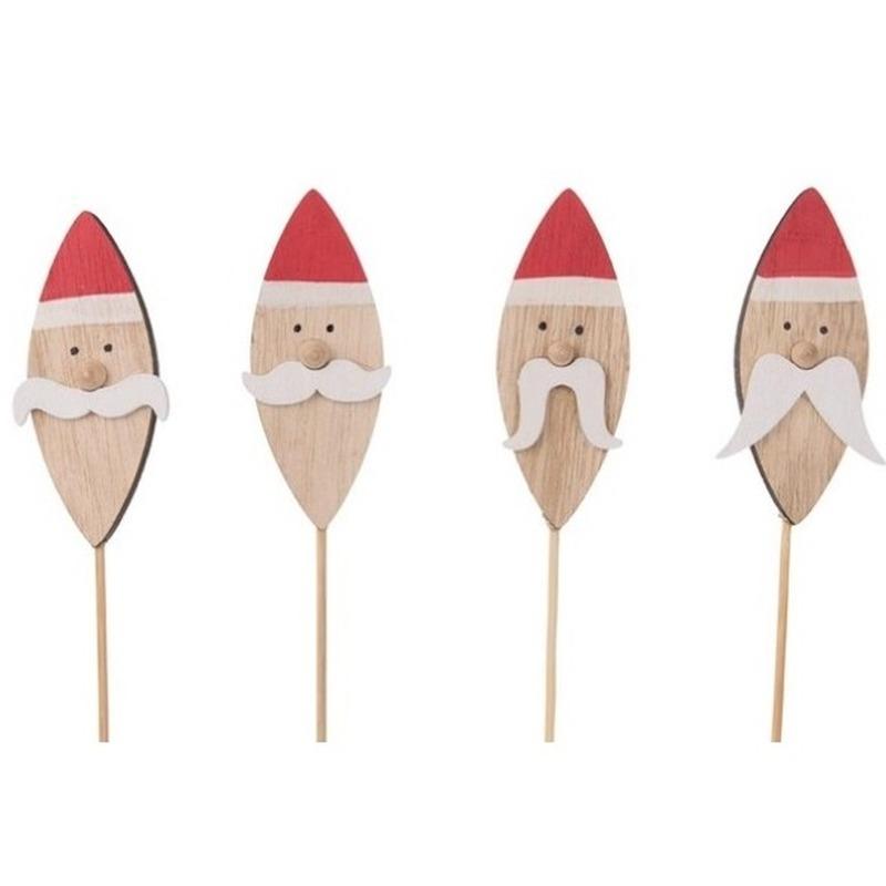 4x Kerststukje onderdelen stekers met kerstmannen 38 cm