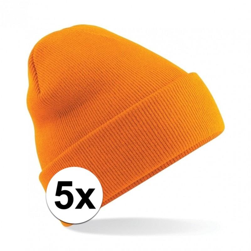 5x Dames winter muts oranje