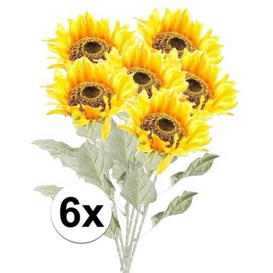 6x Gele zonnebloem kunstbloemen 82 cm