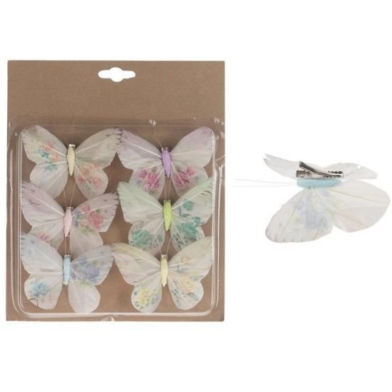 6x Kerstartikelen vlinders multi 10 cm