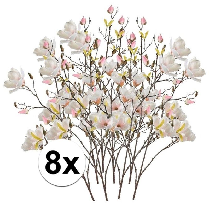 8x Creme Magnolia kunstbloemen tak 105 cm