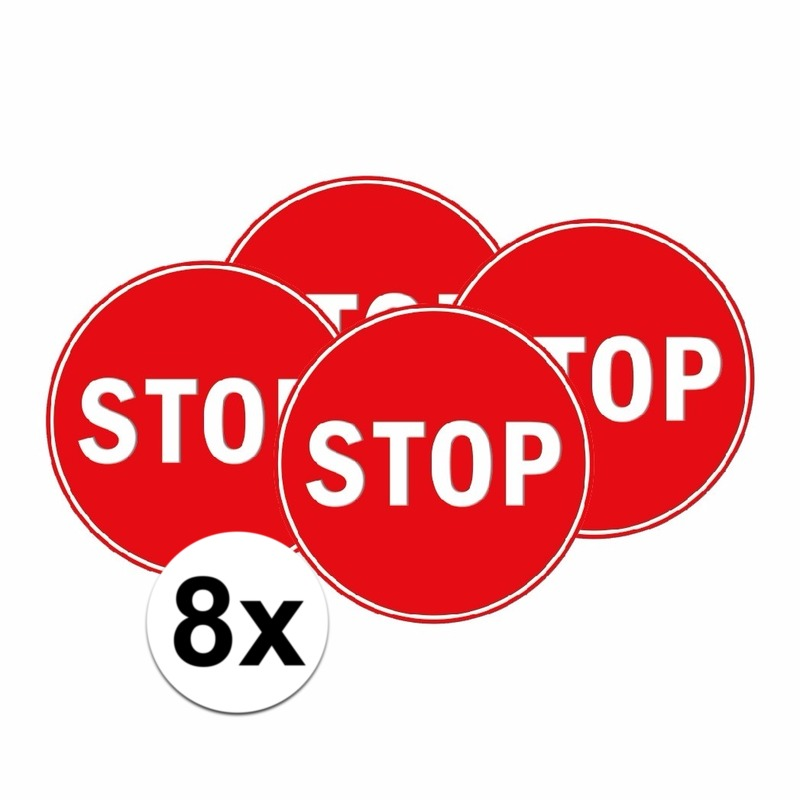 8x Slaapkamer sticker STOP 15 cm
