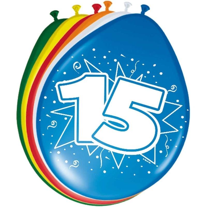 8x stuks Ballonnen 15 jaar 30 cm